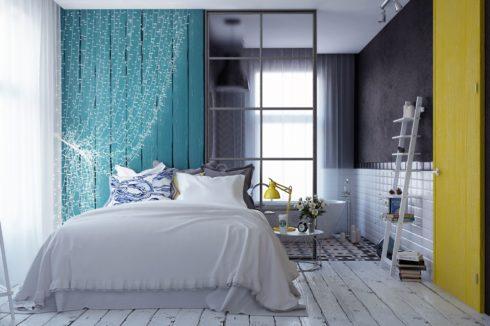 белая комната с синим цветом