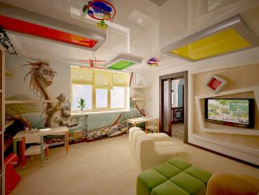 Натяжной потолок для детской: фото